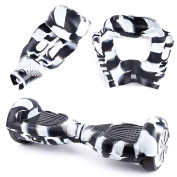 Silicone Rubber Protective Skin Case Cover For 17cm 2 Wheels Hoverboard Scooter Black and White