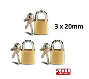 3 X mini 20mm padlocks for luggage suitcase tool box gym lockers shed garage gates bike locks bag lock safe security