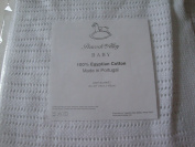 Peacock Alley Crotchet Baby Blanket 100% Egyptian Cotton White