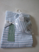 Peacock Alley Blue Striped Knitted 100% Cotton Baby Blanket with Toy Elephant