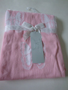 Peacock Alley Pink Butterfly Knitted 100% Cotton Baby Blanket
