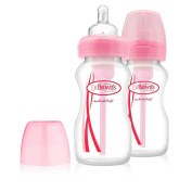 Dr Brown's BPA Free Options 2 Pack 270ml Wide Neck Bottles - Pink