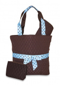 Brown Blue Polka Dot Ribbon Quilted Nappy Bag
