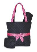 Black Pink Polka Dot Ribbon Quilted Nappy Bag