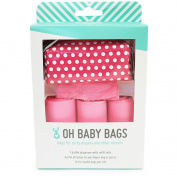 Oh Baby Bags Nappy Bag Clip-On Dispenser Gift Box with Scented Disposable Bags for Dirty Nappies - Recycled Plastic - Pink Dot Duffle plus 48 Pink Citrus Scented Bags