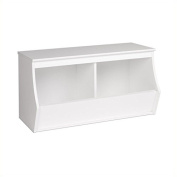 Hawthorne Collections Stackable 2-Bin Storage Cubby in White