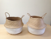Dipped White Sea Grass Belly Basket Panier Boule Storage Nursery Toy Laundry Easter