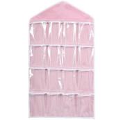 Singleluci 16Pockets Clear Hanging Organiser Socks Bra Underwear Storage Bag