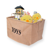 "Ilyever Large 43cm Jute ""TOYS""Storage Basket Bin Storage Box Perfect for Organising Baby Toys, Kids Toys, Dog Toys, Baby Clothing,Children Books"