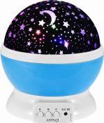 XUZOU Night Lighting Lamp [ 4 LED Beads, 3 Model Light, 4.9 FT (1.6 M) USB Cord ] Romantic Rotating Cosmos Star Sky Moon Projector , Rotation Night Projection for Children Kids Bedroom