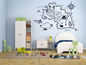 Wall Decal Sticker Bedroom Pirate Map Treasure Gold Island Cartoon Kids Girls Boys Teenager Room 439b