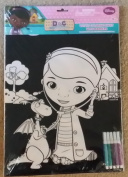 Disney Junior Doc Mcstuffins Velvet Colouring Sheet With Markers