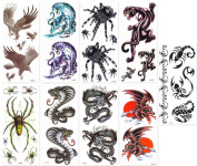 DaLin Temporary Tattoos for Guys 9 Sheets Hawks, Dragon, Spide, Tiger, Snake