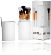 Beau Belle Professional Makeup Brush Kit with Holder, White