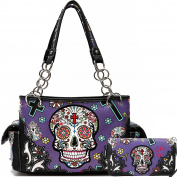 Cowgirl Trendy Western Day of The Dead Sugar Skull Punk Art Purse Handbag Shoulder Bag Wallet Set Purple