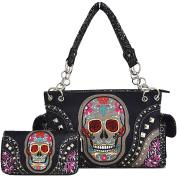 Western Cowgirl Day of The Dead Flower Rose Sugar Skull Punk Purse Handbag Shoulder Bag Wallet Set Black