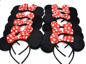 CL GIFT 12 pcs MINNIE MOUSE EARS HEADBANDS RED POLKA DOT BOW PARTY favours COSTUME DISNEY /PARTY favour
