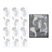 Beistle 52144 6 Piece Jellyfish Party Panels, 30cm x 1.8m, Multicolor