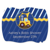 Custom Construction Truck - Personalised Squiggle Baby Shower or Birthday Party Favour Stickers