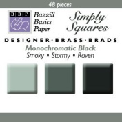 Bazzill Monocramatic Blacks Square Brads Assortment