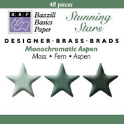 Bazzill Monocramatic Star Brads Assortment - Aspen Green