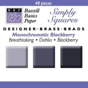 Bazzill Monocramatic Blackberry Square Brads Assortment