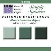 Bazzill Monocramatic Square Brads Assortment - Aspen Greens