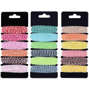 Outus Gift Twine Colourful Twine Gift DIY Packing Twine Natural Cotton Twine for Christmas Arts Crafts, 18 Colours Totally 145 Yards