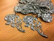 CraftbuddyUS 20pcs x 75mm x 40mm Decorative Metal Filigree Rose Flower Wedding Stick on Toppers