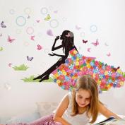 Malltop Romance Angel Butterfly Flower Fairy Princess Harmony Bedroom Backround Walls Stickers