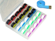Ceeyali Bobbin Box Sewing Thread Organiser With Colourful Bobbins 12 Pack Black and 13 Pack White Cotton Thread for Brother Singer Babylock Kenmore Janome etc