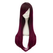 Lolita Ombre Magenta Purple 70cm Long Straight Fashion Girls Lady Heat Resistant Wig+Cap