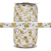 100 Yards - Gold Hearts Print - 1.6cm Fold Over Elastic - ElasticByTheYard