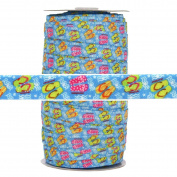 100 Yards - Flip Flop Blue Print - 1.6cm Fold Over Elastic - ElasticByTheYard