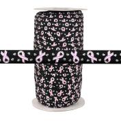 100 Yards - Breast Cancer Ribbon on Black - 1.6cm Fold Over Elastic - ElasticByTheYard