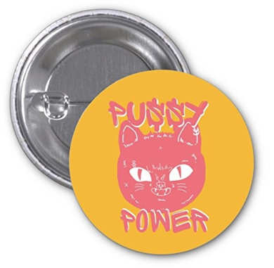 Pussy Power Pink Woman's March 2 PACK of 7.6cm Buttons Flare by Debbie's Designs