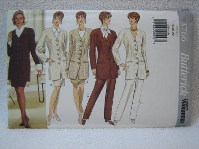 Butterick Pattern 3766 - Misses' Petite Jacket, Skirt and Pants (Size 18-20-22)