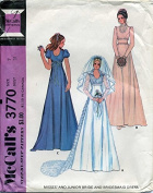 McCall's # 3770 Misses and Junior Bride and Bridesmaid Dress Sewing Pattern Size
