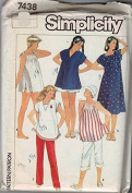 Simplicity # 7438 Maternity Pullover Dress, Tops, Pull-On Pants And Shorts Or Bloomers Sewing Pattern Size
