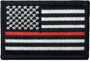 Tactical USA Flag Firefighter Fire & Rescue EMT EMS Thin Red Line Iron Sewing on Patch - Black & White - By Hello Bangkok
