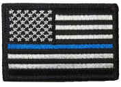 Tactical USA Flag Police Law Enforcement Thin Blue Line Patch - Black & White 5.1cm x 7.6cm Backing - By Hello Bangkok