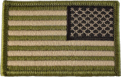 Tactical Reverse USA Flag Patch - Multitan 5.1cm x 7.6cm Touch Fastener Hook and Loop Backing - By Hello Bangkok