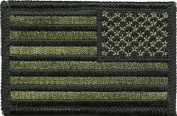 Tactical Reverse USA Flag Patch - Olive Drab 5.1cm x 7.6cm Touch Fastener Hook and Loop Backing - By Hello Bangkok