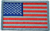 Tactical USA Flag Patch - Subdued Silver 5.1cm x 7.6cm Touch Fastener Hook and Loop Backing - By Hello Bangkok