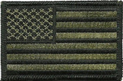 Tactical USA Flag Patch - Olive Drab 5.1cm x 7.6cm Touch Fastener Hook and Loop Backing - By Hello Bangkok