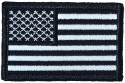 Tactical USA Flag Patch - Black and White 5.1cm x 7.6cm Touch Fastener Hook and Loop Backing - By Hello Bangkok