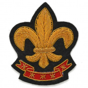 Fleur-De-Lis Bullion Wire Embroidered Badges, Sew-on Crest Applique Patch by 1 pc, 7.6cm x 7cm , OSB-25243