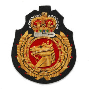 Gold Bullion Wire Embroidered Badges, Sew-on Applique Patch by 1 pc, 7.6cm x 6.4cm , OSB-25245
