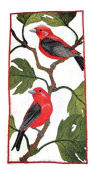 Nature weaved in threads, Amazing Birds Kingdom [ Scarlet Tanager Panel ] [Custom and Unique] Embroidered Iron on/Sew patch [24cm 12cm ] [Made in USA]