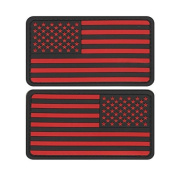 US MILITARY FLAG UNIFORM PATCH PVC RUBBER LOT OF TWO BLACK AND RED